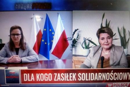 screen z wywiadu - prezes ZUS i prowadząca wywiad dziennikaraka